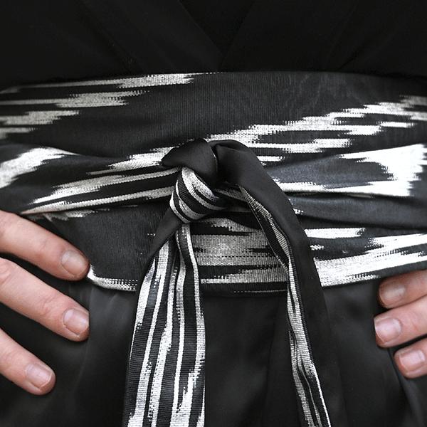ceinture-obi-ikat-noir-gris-reversible