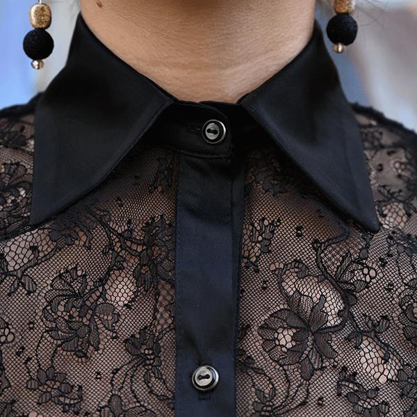 chemise dentelle noire femme