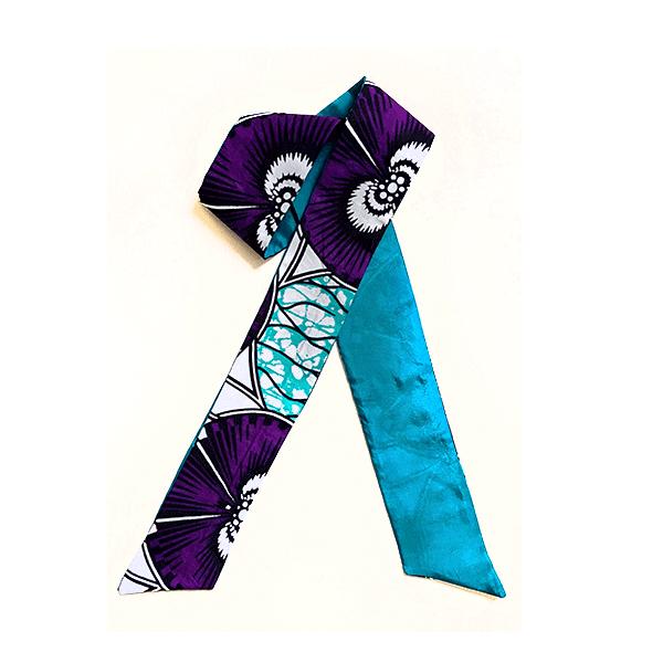 foulard cravate en soie et wax bleu violet