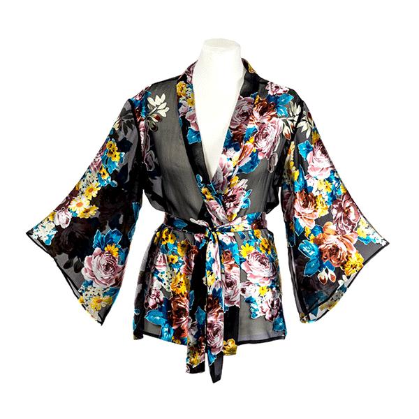 kimono femme en soie a motifs fleuris