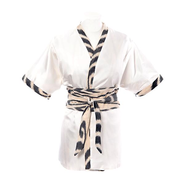 Kimono en soie ikat et twill