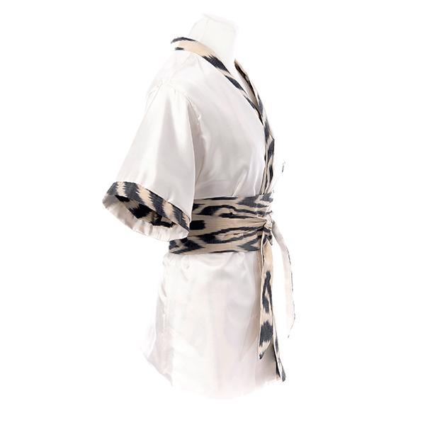 Kimono en soie reversible twill et ikat