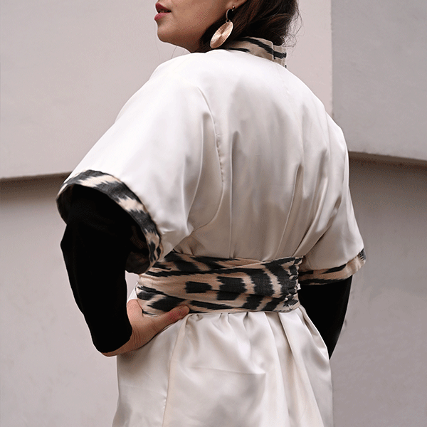 kimono ikat soie femme
