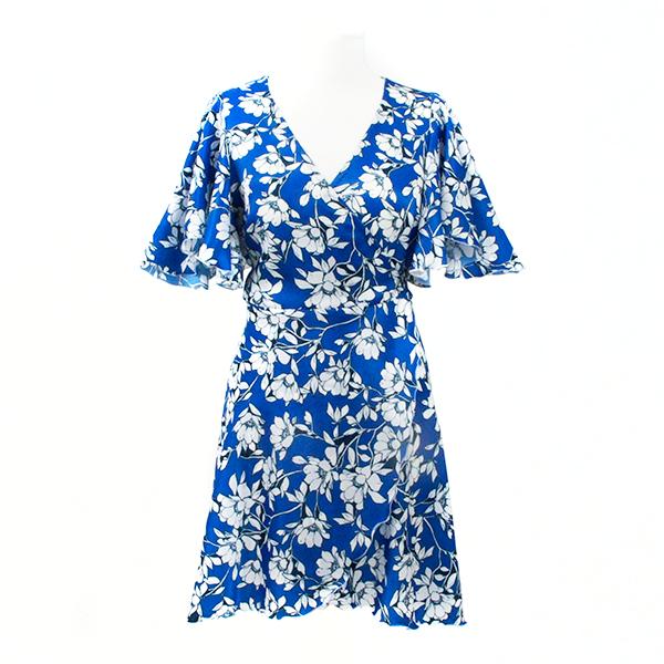 robe portefeuille bleu roi fleuri à manches volantes