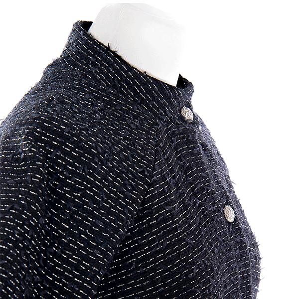 Col de la veste tweed noir argenté