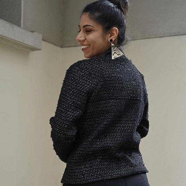 veste coupe raglan en tweed noir
