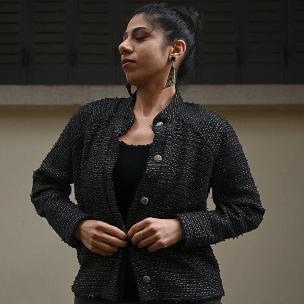 veste en tweed noir femme